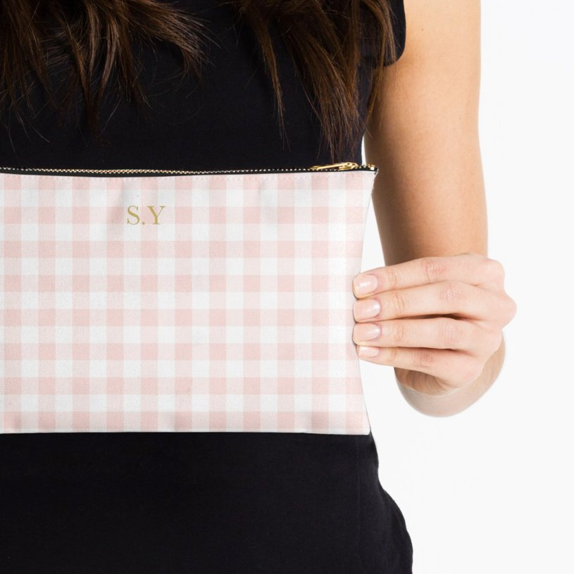 Personalized Gingham Name Cosmetic Pouch Custom Makeup Bag