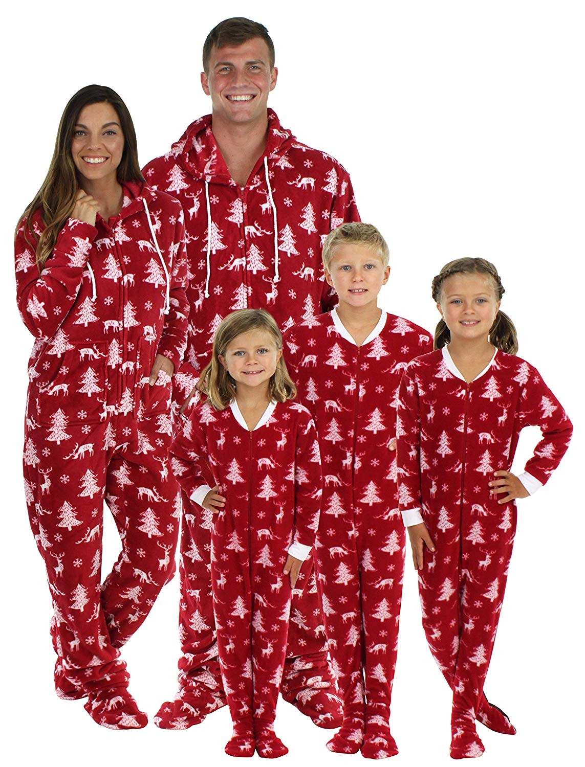 SleepytimePJs Family Matching Cranberry Deer Pajamas