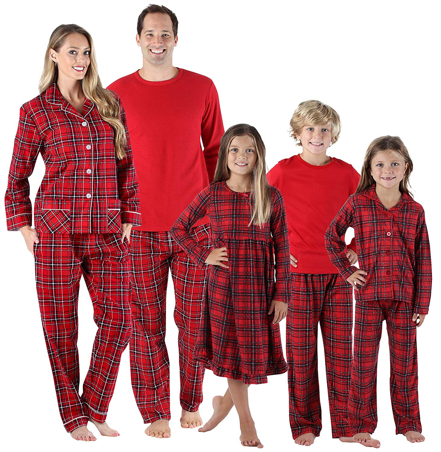 SleepytimePJs Holiday Family Matching Red Plaid Flannel Thermal Pajamas