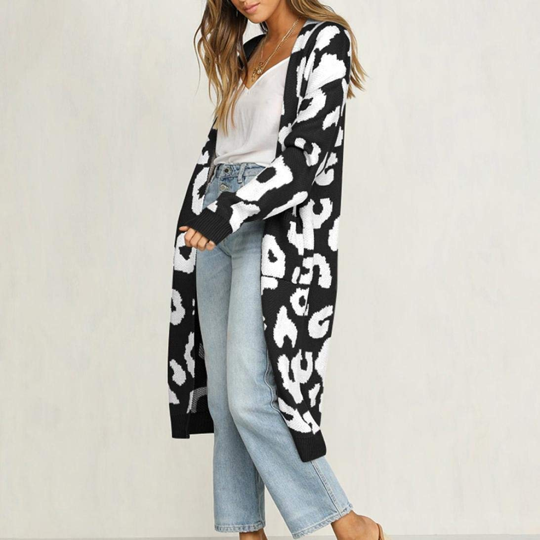 Long Sleeve Leopard Knitted Cardigan Sweater Coat from Amazon