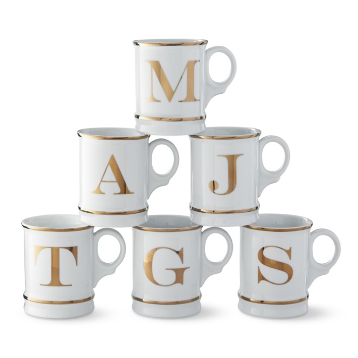 Williams Sonoma Gold Monogram Mugs
