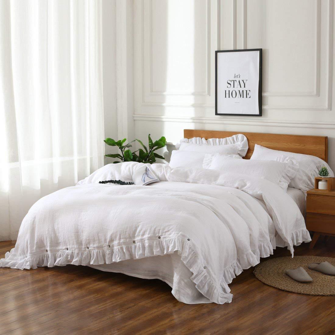 esasilk Vintage Ruffles Linen Duvet Cover Sets 100% Pure Linen King Queen Twin 3piece per Set
