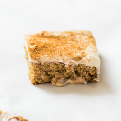 Applesauce Snack Cake with Cream Cheese Frosting - glitterinc.com
