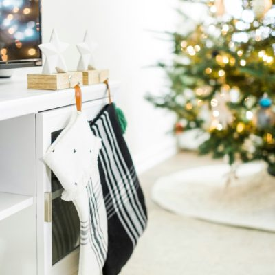 Christmas stockings hung by the tree