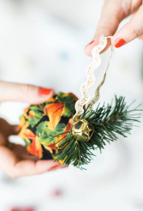 DIY Folded Fabric Pinecone Ornaments