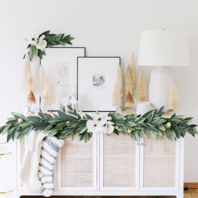 DIY paper magnolia garland for the holidays