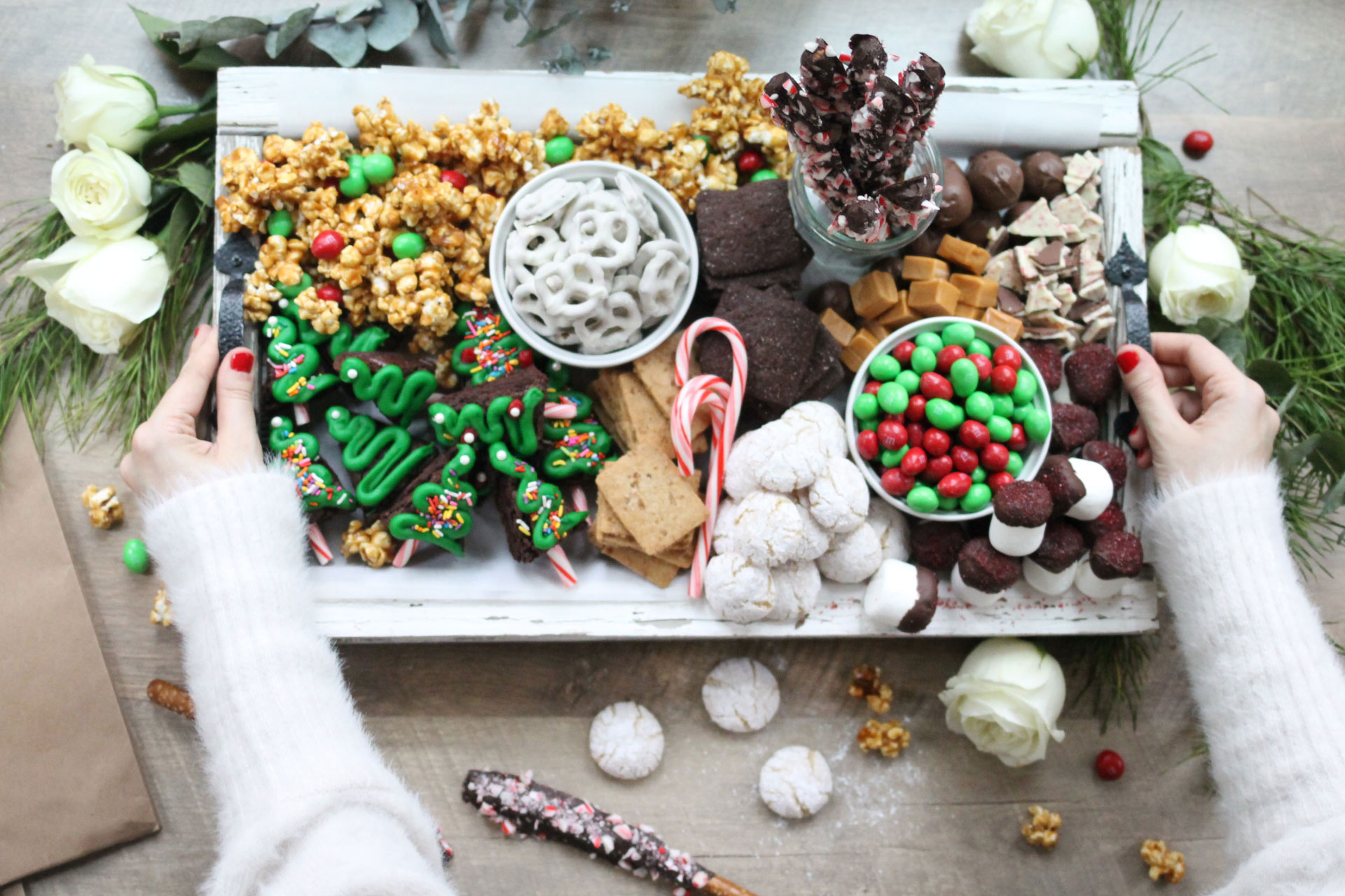 epic holiday dessert charcuterie snack board