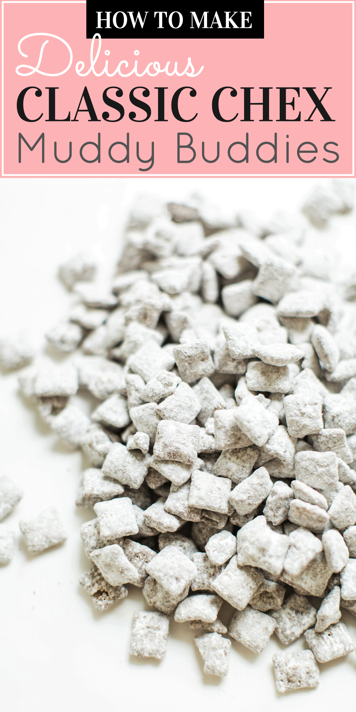 uppy Chow Muddy Buddies - comes together in minutes, is no-bake, and can be made up in big batches - perfect for gifting! Click through for the recipe. #muddybuddies #puppychow #holidayrecipe #holidaygift #dairyfree #vegan #vegandessert   glitterinc.com   @glitterinc