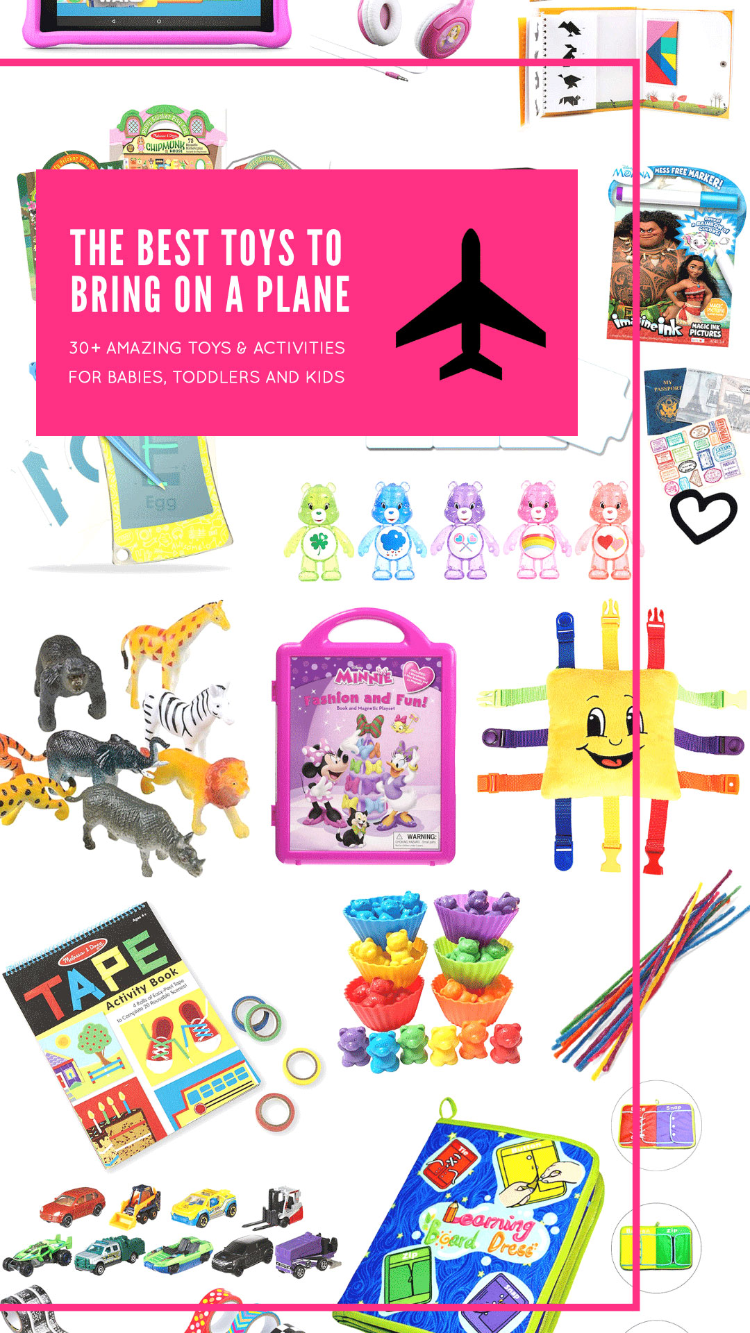 Consider this the ultimate guide to the very best toys, games, and activities to bring on a plane for your babies, toddlers, and kids. #travelwithkids #travel #flyingwithkids #flyingwithbaby #traveltoys  #airplanetoys #whattobringonaplane | glitterinc.com | @glitterinc