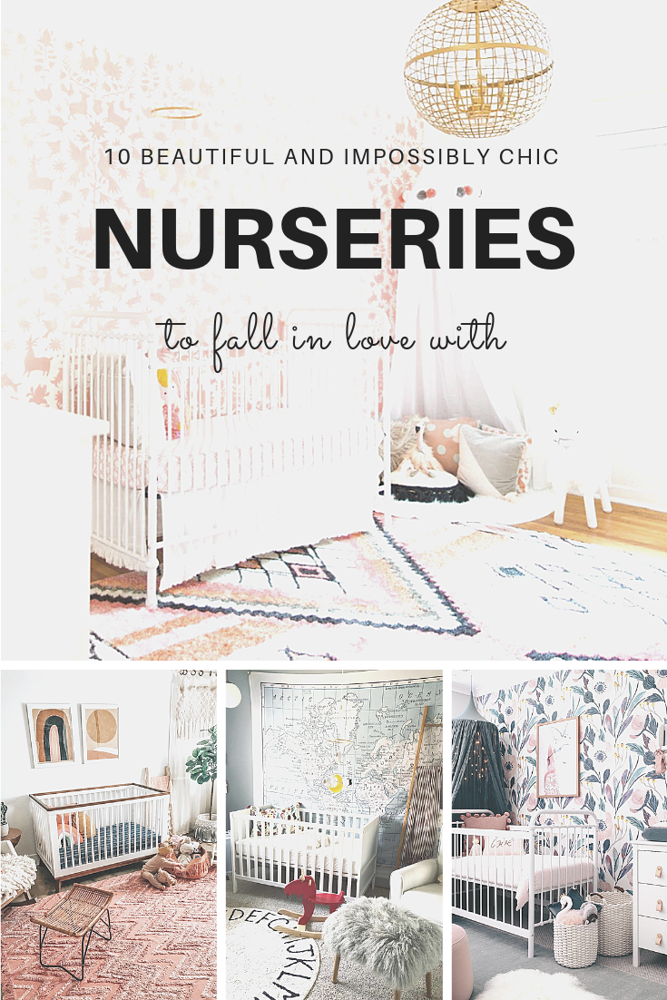 Searching for unique and beautiful nursery décor inspiration? Here are 10 impossibly chic nurseries spotted on Instagram. | Click through for the details. | glitterinc.com | @glitterinc