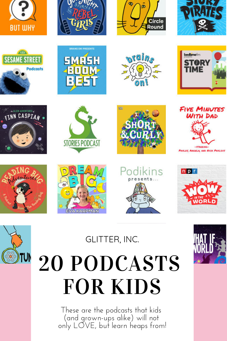 Podcasts are an amazing learning tool, help avoid screen time, are perfect for road trips, keep kids wildly entertained, and are totally free!  glitterinc.com | @glitterinc