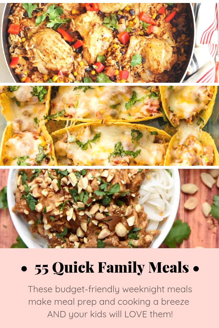 Never fret over family dinner again with these 55 quick budget-friendly lazy weeknight meals that will make meal prep and cooking a breeze. Bonus: your whole family will love them - kids included! Click through for the recipes. #dinner #familymeals #mealprep #budgetmeals #budgetdinners #frugaldinners #easydinner #easymeals | glitterinc.com | @glitterinc