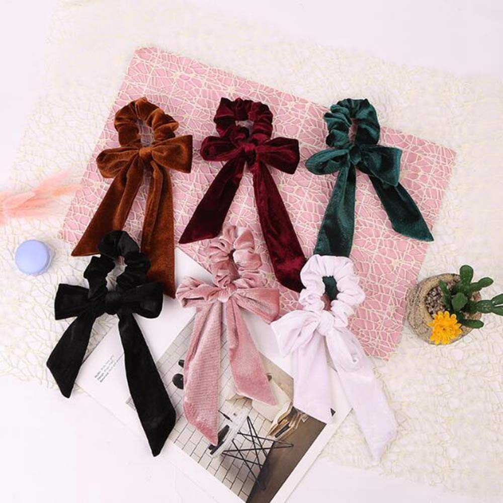 6Pcs Cute Girl Hair Velvet Big Bow Scrunchies - Super cute, affordable, and free 2-day prime shipping on Amazon.