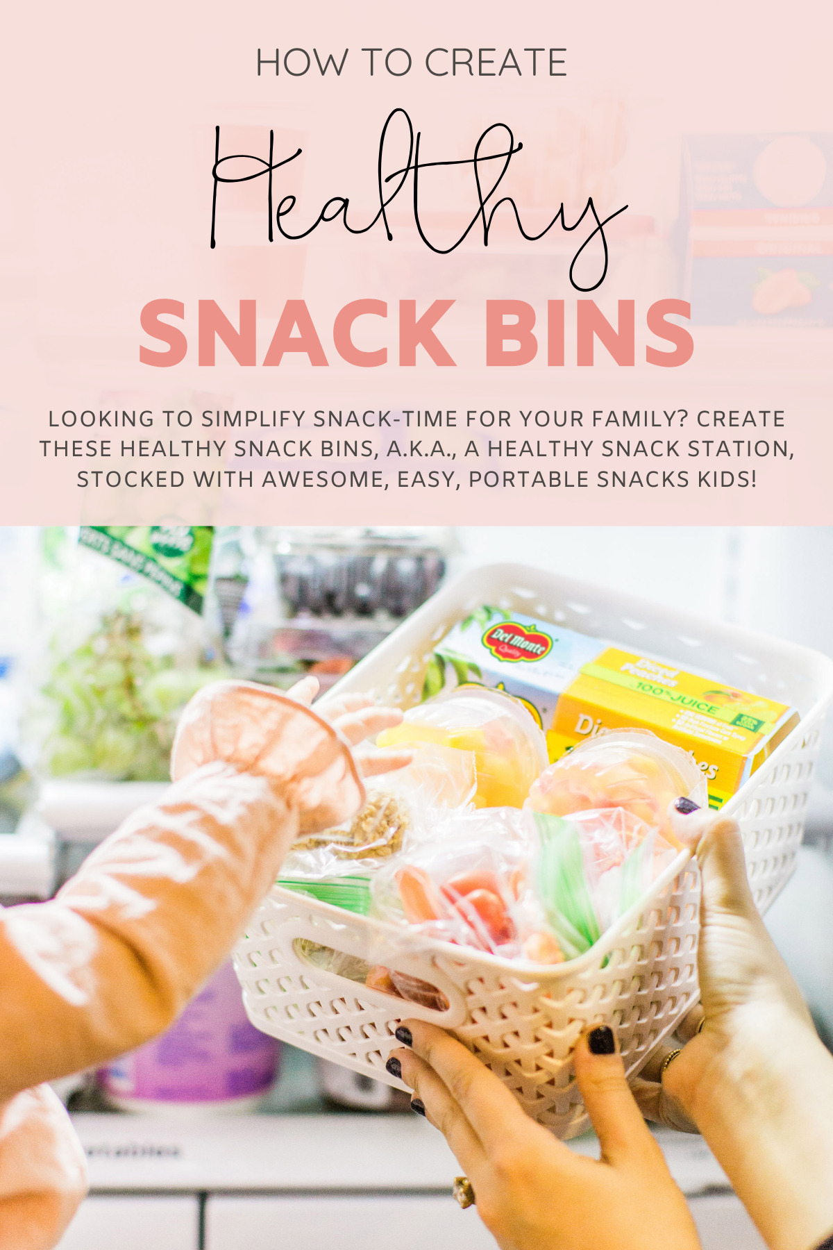 Hoping to simplify snack-time for your family? Create these healthy snack bins, a.k.a., a healthy snack station, stocked with awesome, easy, portable snacks kids and grown-ups alike will love! Perfect for after school snacking.   glitterinc.com   @glitterinc