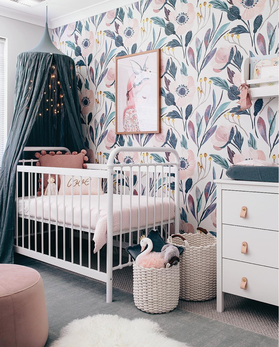 Here are 10 impossibly chic nurseries spotted on Instagram, including this Bold Blue and Blush Nursery | Click through for the details. | glitterinc.com | @glitterinc
