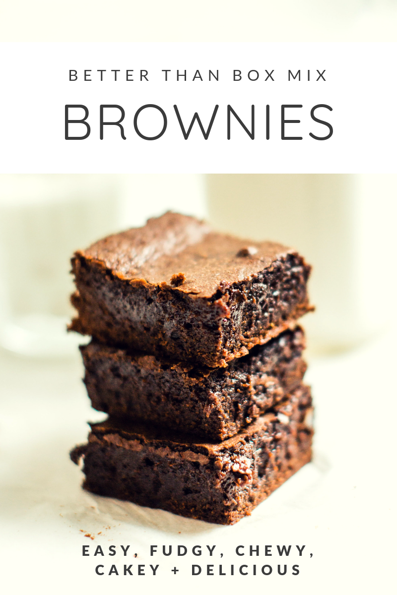 These homemade fudgy, chewy, cakey brownies are super easy to make and taste just as good as your favorite box mix brownies ... dare I say, even better?! Click through for the recipe. | glitterinc.com | @glitterinc