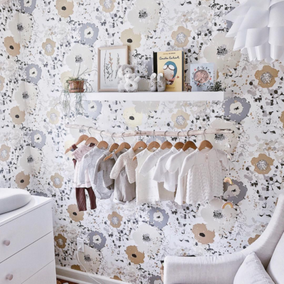 Gorgeous Feminine Wallpapered Girls Nursery