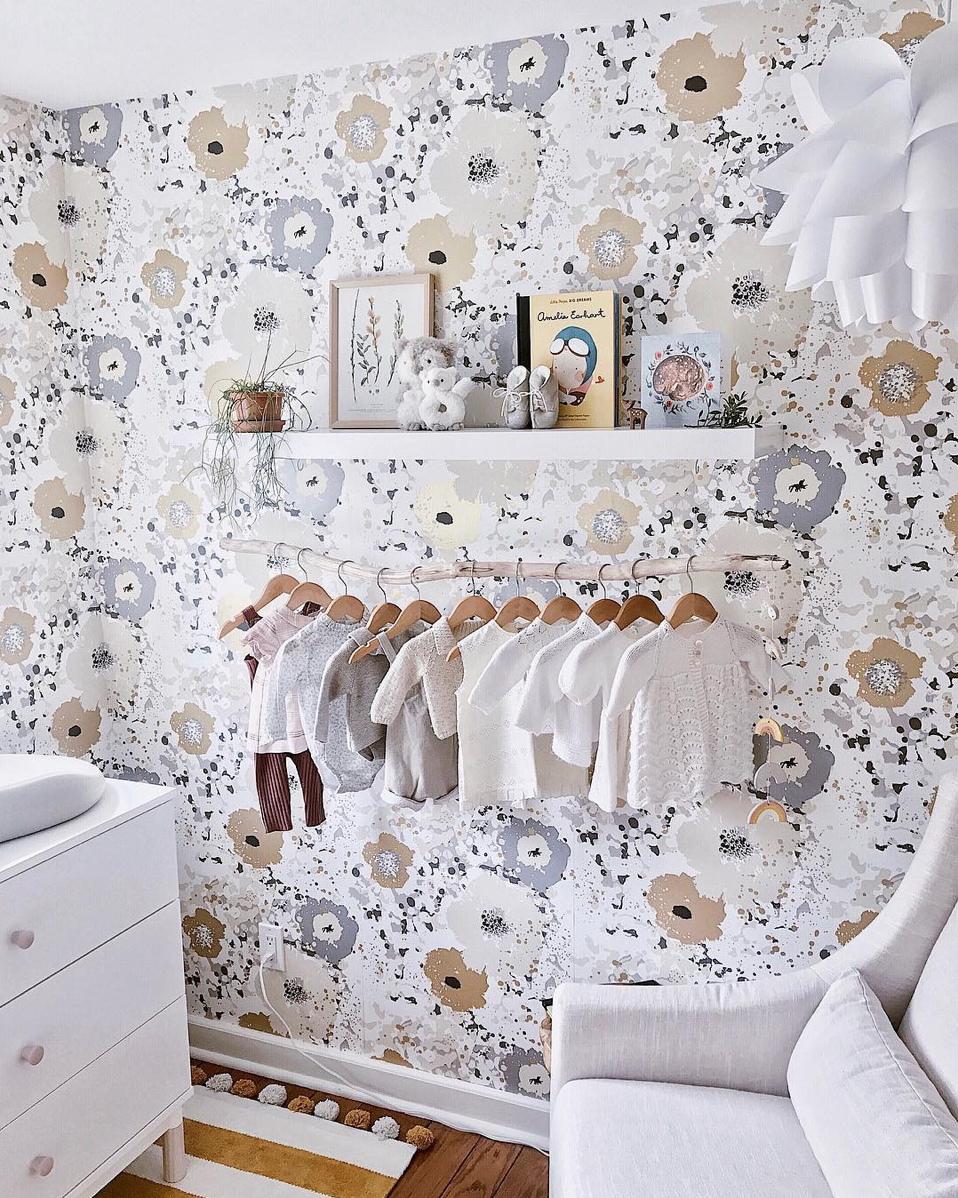 Here are 10 impossibly chic nurseries spotted on Instagram, including this Gorgeous Feminine Wallpapered Girls Nursery via @liaparsley | Click through for the details. | glitterinc.com | @glitterinc