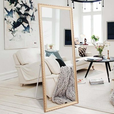 "H&A Full Length Floor Mirror - 65""x22"" Large Rectangle Wooden Finished Frame Standing Mirror"