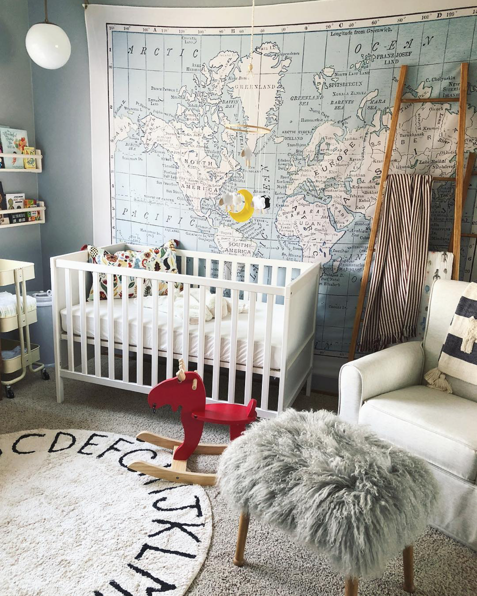 Here are 10 impossibly chic nurseries spotted on Instagram, including this Little Adventurer Travel-Themed Nursery | Click through for the details. | glitterinc.com | @glitterinc