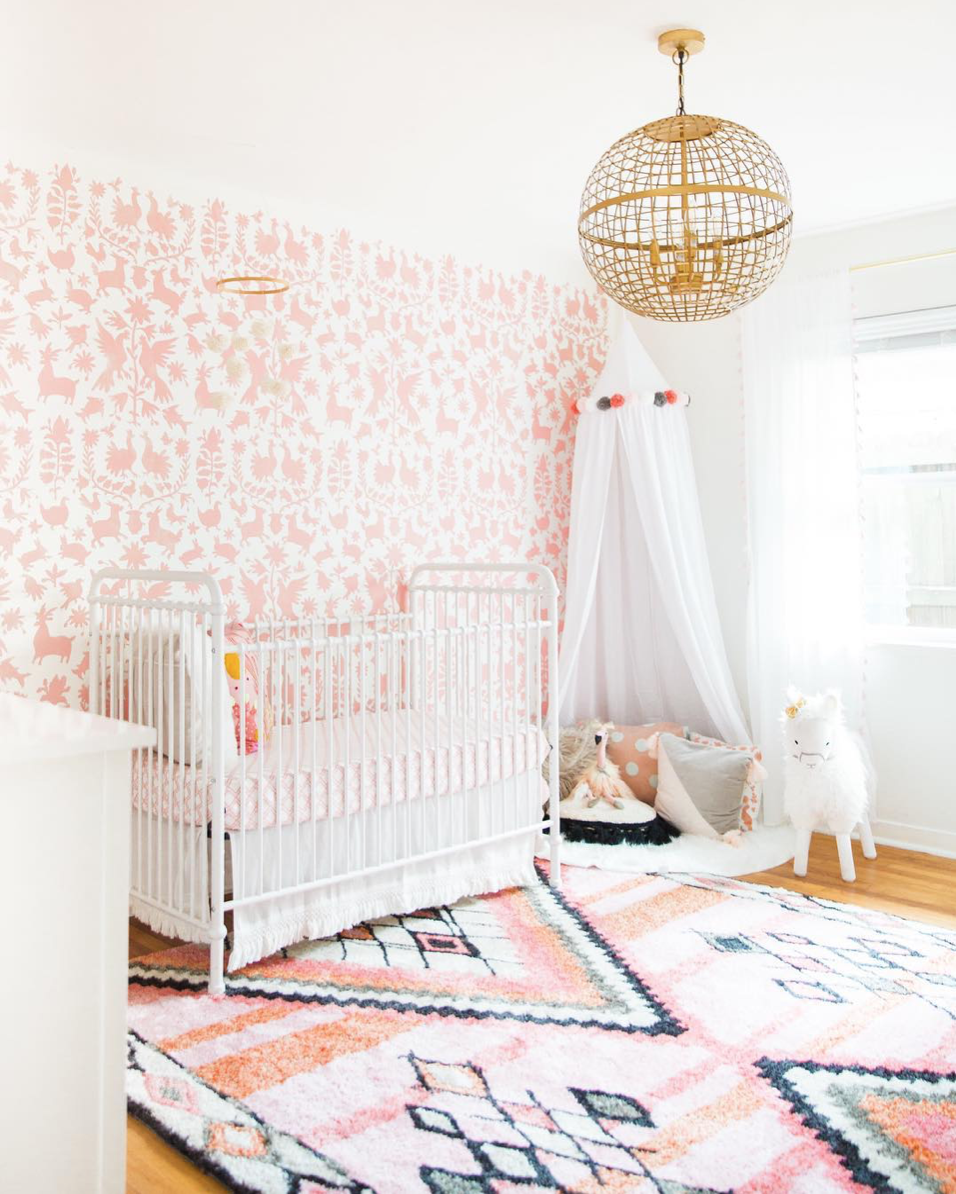 Here are 10 impossibly chic nurseries spotted on Instagram, including this Pink Otomi Inspired Nursery | Click through for the details. | glitterinc.com | @glitterinc
