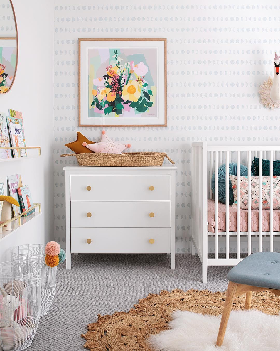 Here are 10 impossibly chic nurseries spotted on Instagram, including this Spring Inspired Nursery | Click through for the details. | glitterinc.com | @glitterinc