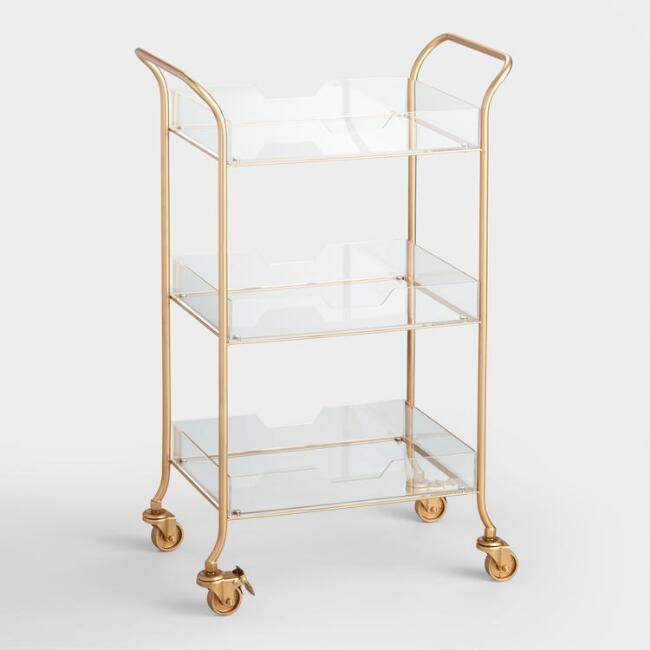 World Market Gold Metal And Clear Acrylic Emerson Rolling Cart