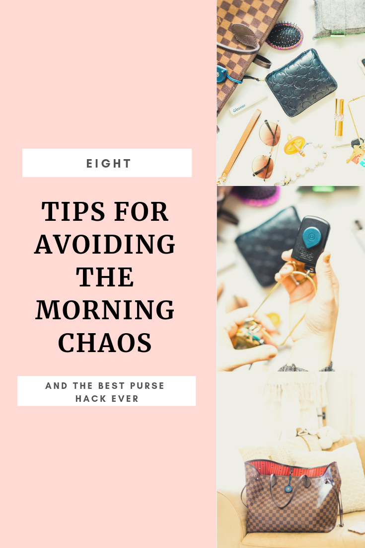 8 tips for avoiding the morning chaos, including actionable ways to stay on time, keep organized, and find a little bit of morning calm, including my new favorite mom hack - Adero - that now has a permanent spot in my diaper bag
