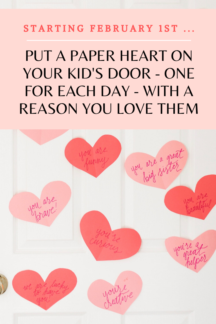 "Looking for a sweet way to surprise your Valentine? This DIY ""heart attack"" - a.k.a., tons of paper hearts spelling out the reasons you love your Valentine, splashed all over their bedroom door - is sure to surprise and delight kids and grown-ups alike! 