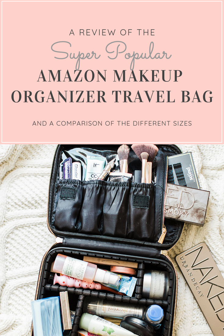 Have your eye on the Amazon makeup organizer travel bag everyone is buying? I'm sharing a complete review of the affordable and chic train case, plus a comparison of the sizes, and how to choose which one is best for you. #beauty #beautybag #amazonmakeuporganizer #makeuporganizer #makeupbag | glitterinc.com | @glitterinc