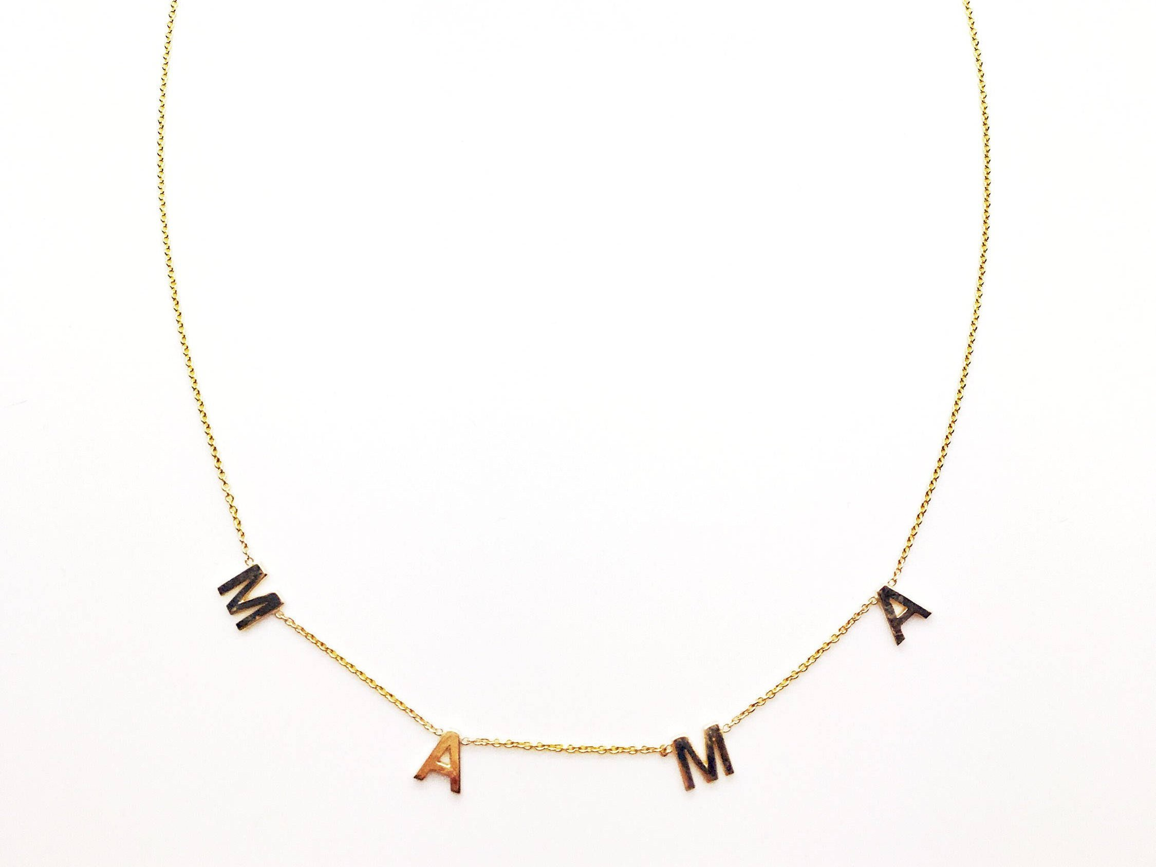 Olive Branch by Autumn 14k Solid Gold Spaced Letter Name Necklace