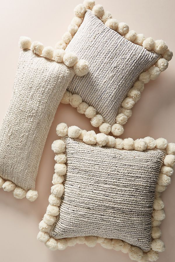 Anthropologie Pommed Jute Pillow
