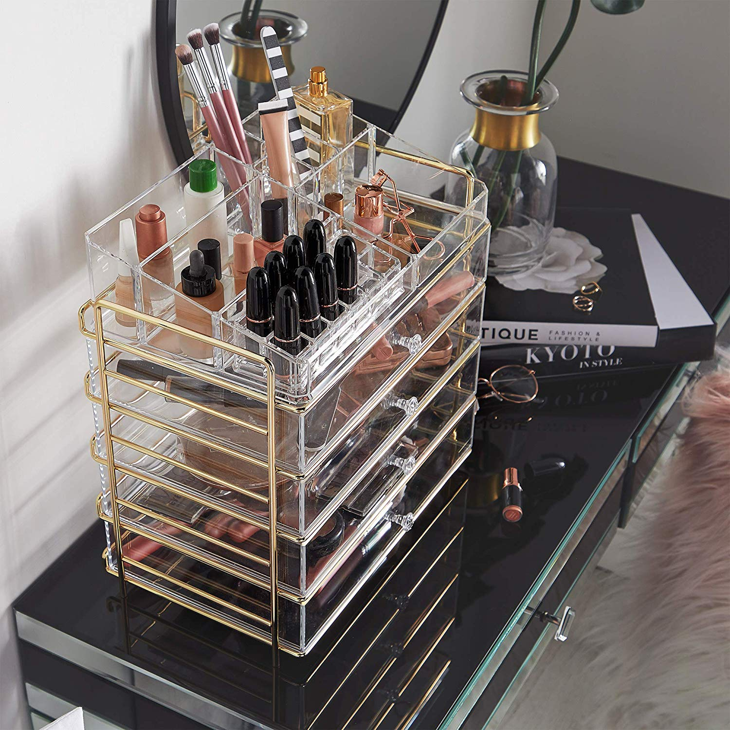 Beautify Large 5 Tier Clear Acrylic Cosmetic Makeup Storage Cube Organizer with Champagne Gold Frame