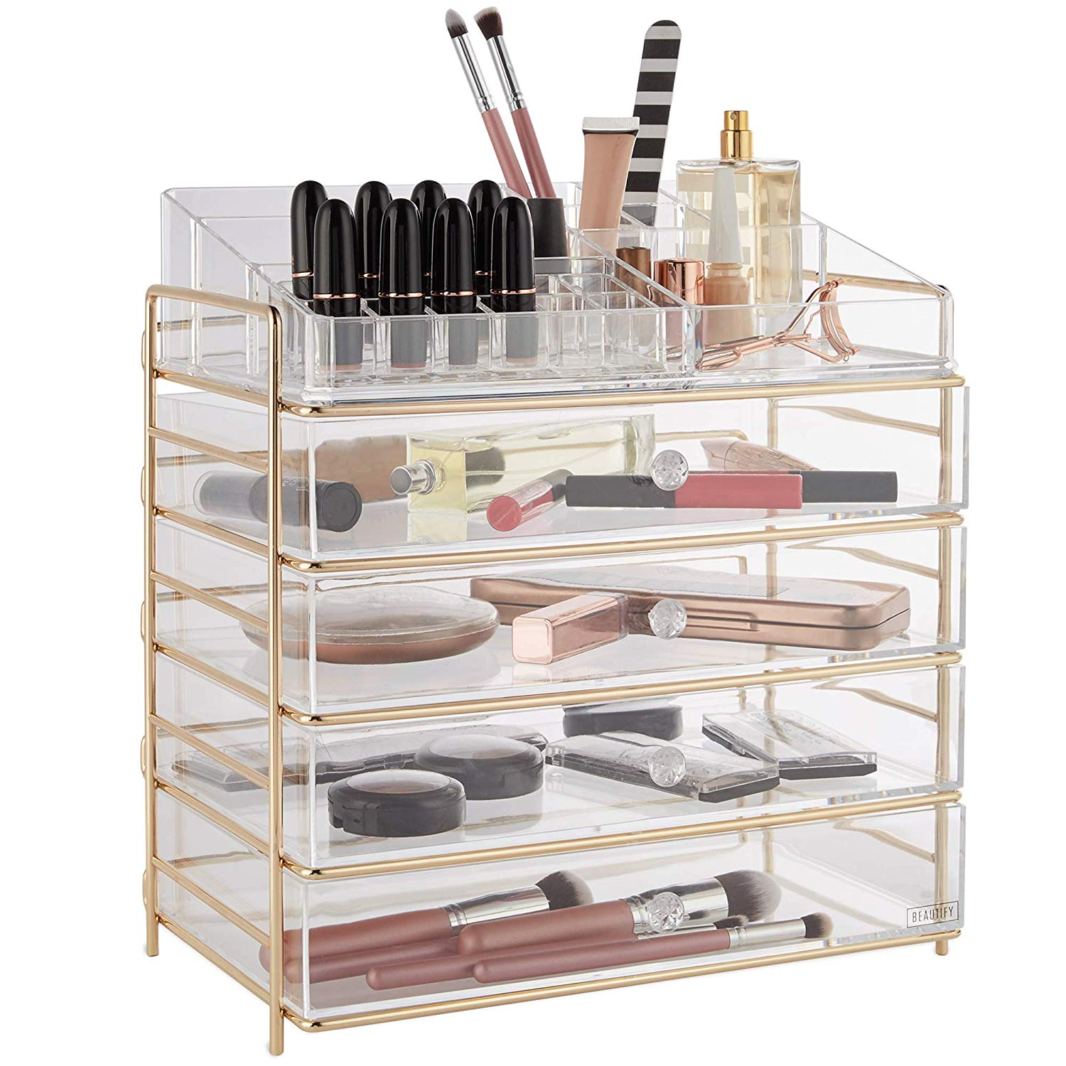 Weekly Finds - Beautify Large 5 Tier Clear Acrylic Cosmetic Makeup Storage Cube Organizer with Champagne Gold Frame