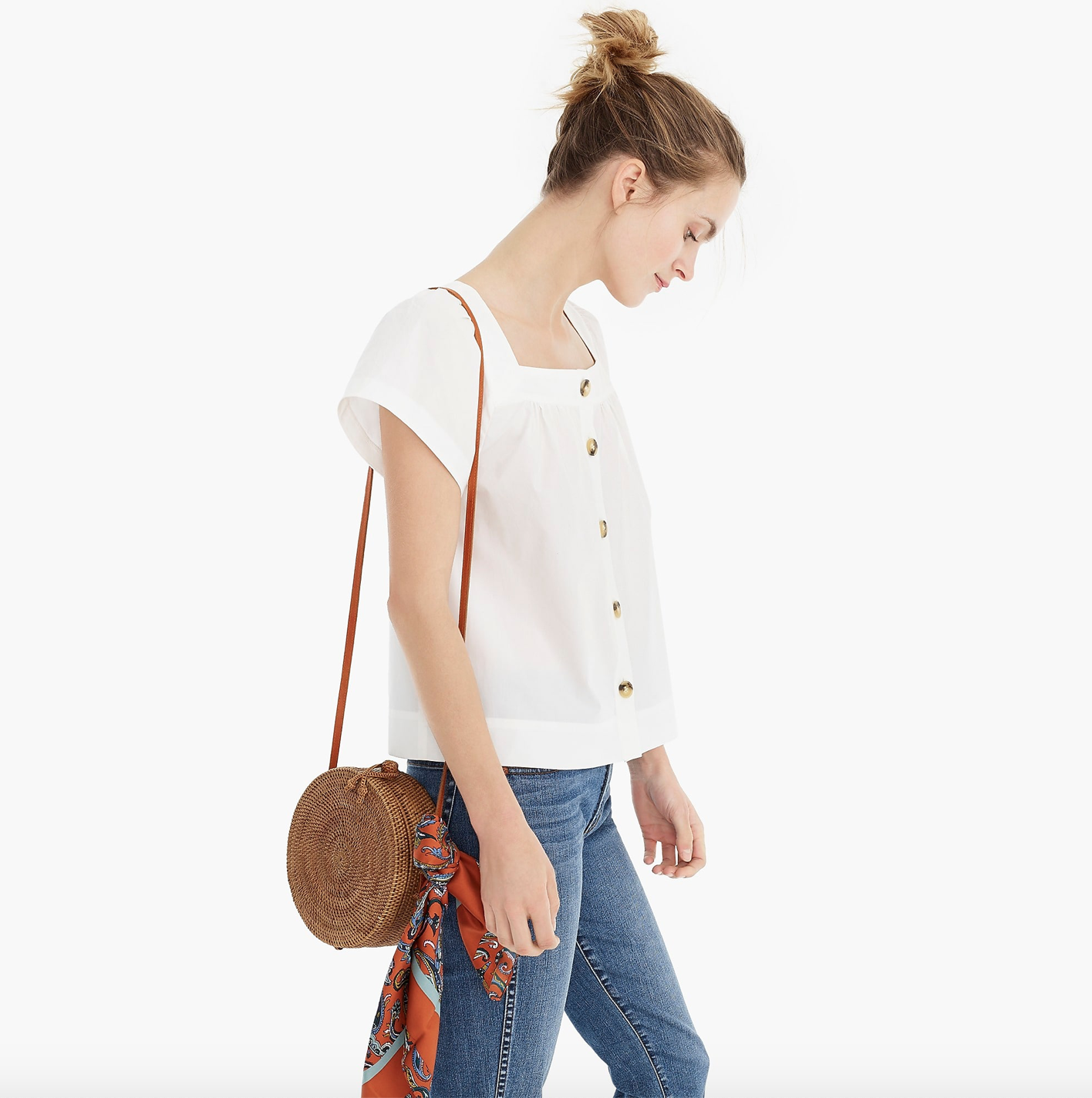 J.Crew Button-Front Square-Neck Top