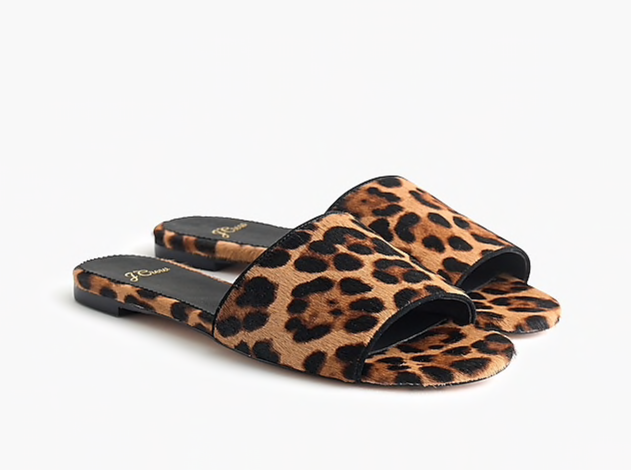 J.Crew Cora Slide Sandals in Leopard Calf Hair