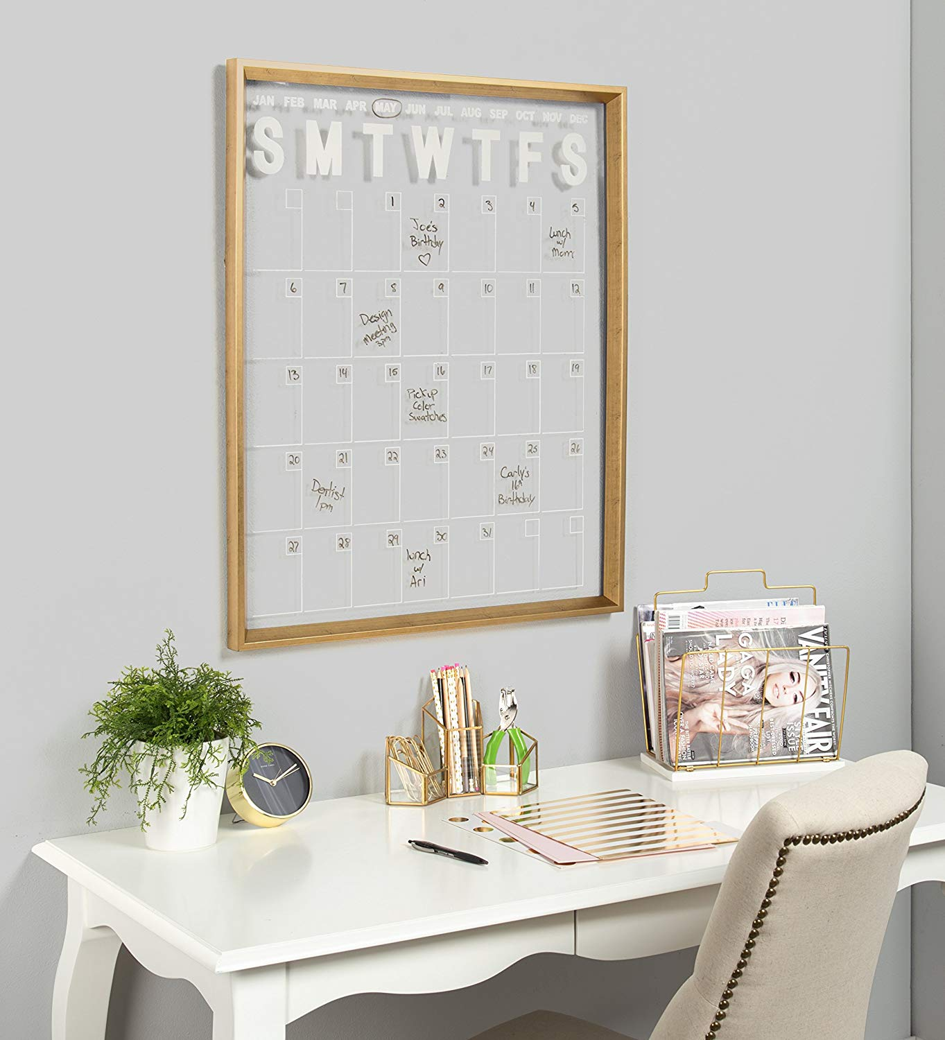 Kate and Laurel Calter Modern Wall Calendar, Large Framed Erasable Month-at-a-Glance Planner with Clear Acrylic Surface in Gold