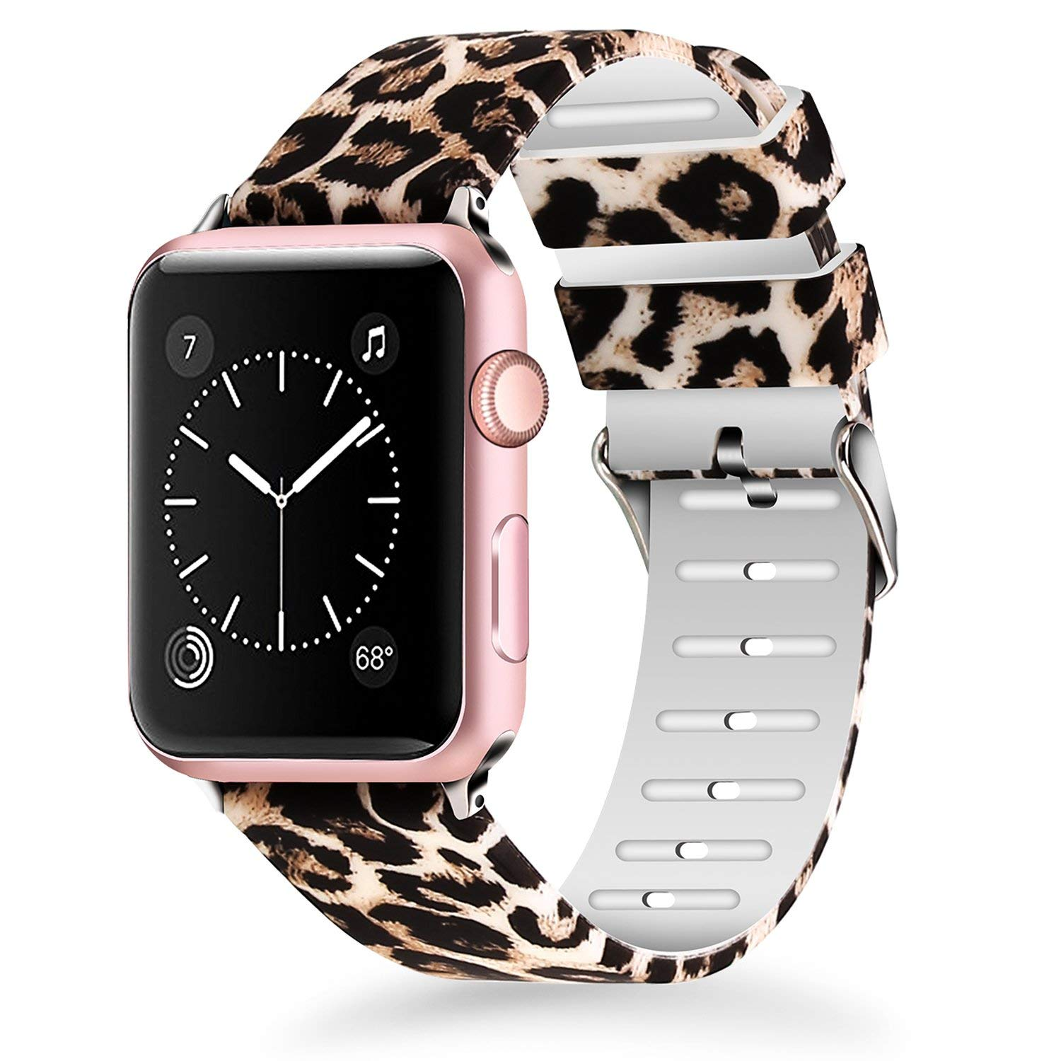Lwsengme Apple Watch Soft Silicone Leopard Band