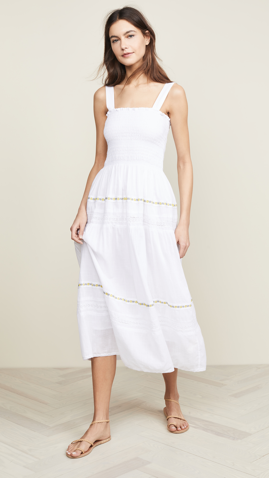 The Great Embroidered Clover Dress with Rose Trim - The Most Perfect Spring Maxi Dress