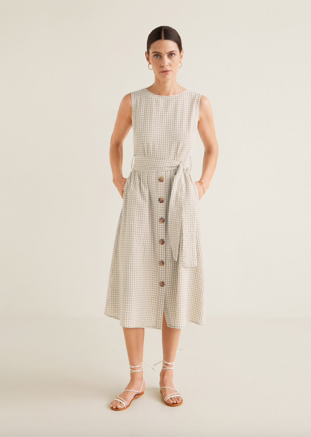 Mango Gingham Textured Dress | glitterinc.com | @glitterinc