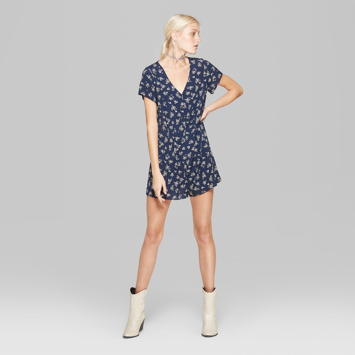 Gorgeous Finds at Target  - Wild Fable Women's Floral Print Short Sleeve Button Front Romper in Navy