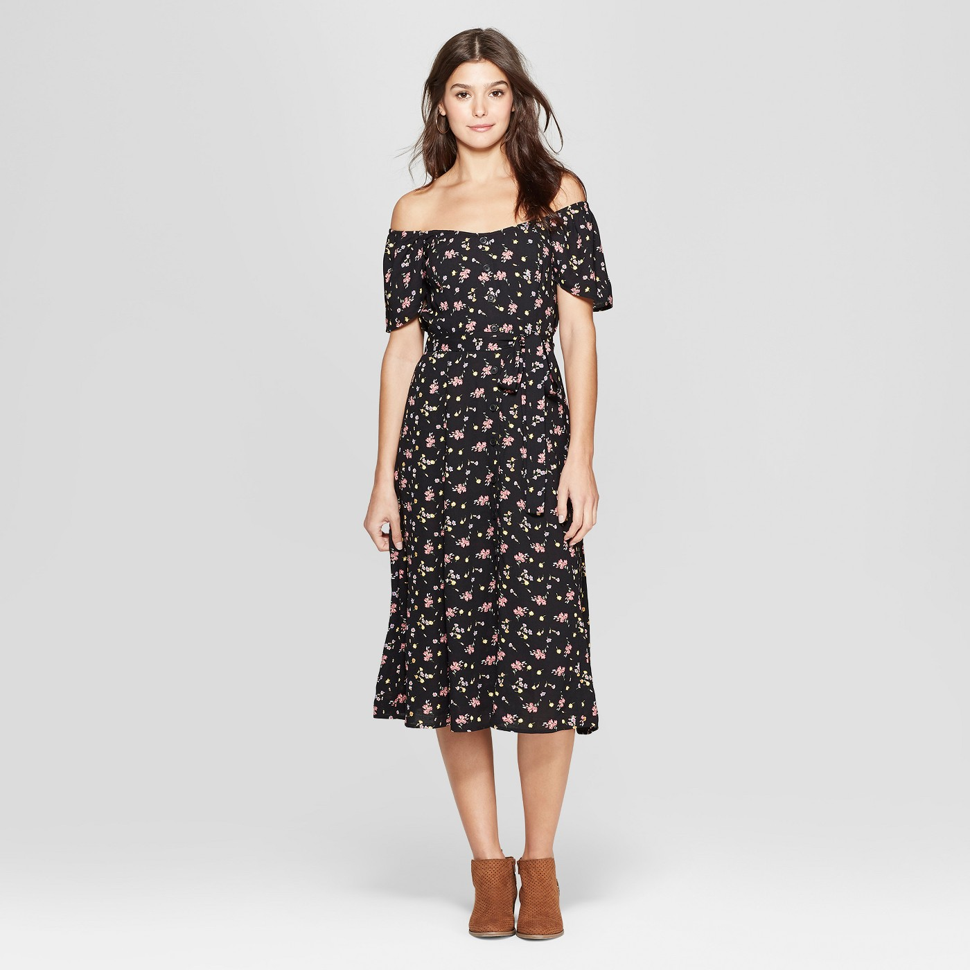 Gorgeous Finds at Target  - Xhilaration Women's Short Sleeve Off the Shoulder Button Front Midi Dress