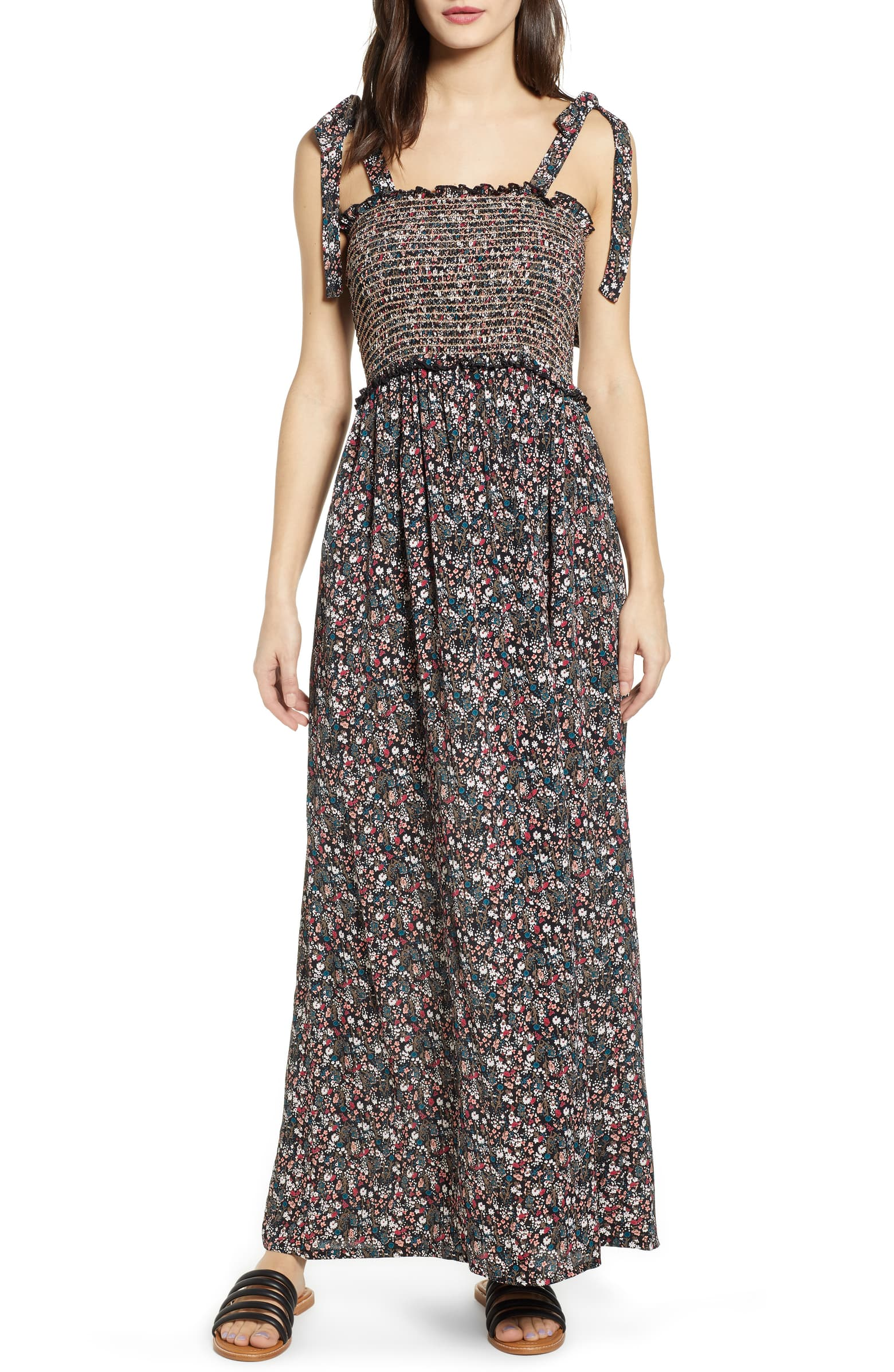 Cutest Dresses - Angie Tie Strap Floral Smocked Maxi Dress
