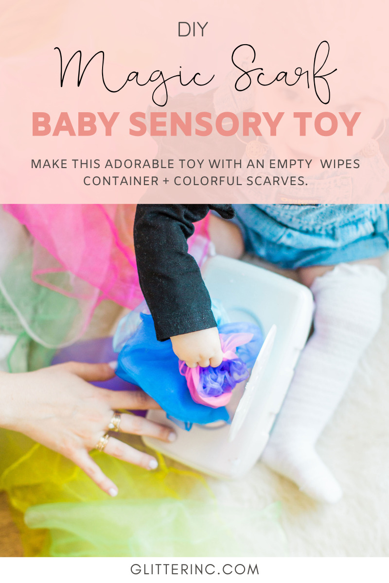 Looking for a fun activity to do with your baby? Make an easy, magic sensory toy using an empty wipes container and inexpensive colorful scarves, and watch your baby go crazy for their new game. This is perfect play time entertainment for a one year old!   @glitterinclexi   GLITTERINC.COM