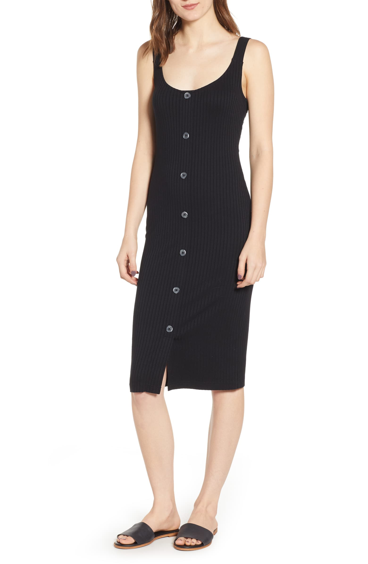 BP. Button Front Midi Dress