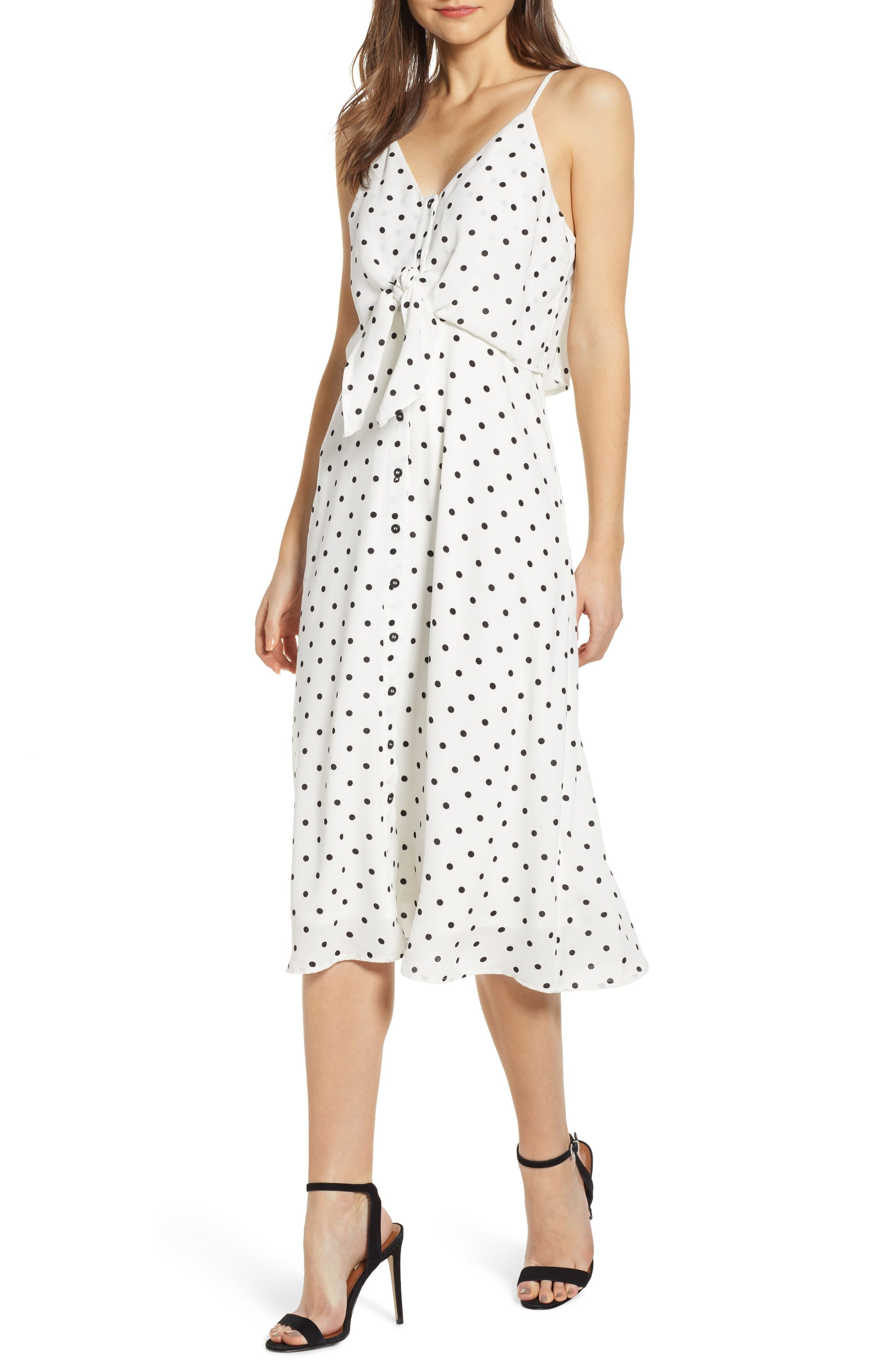 Cutest Dresses - BP. Polka Dot Tie Waist Midi Dresss