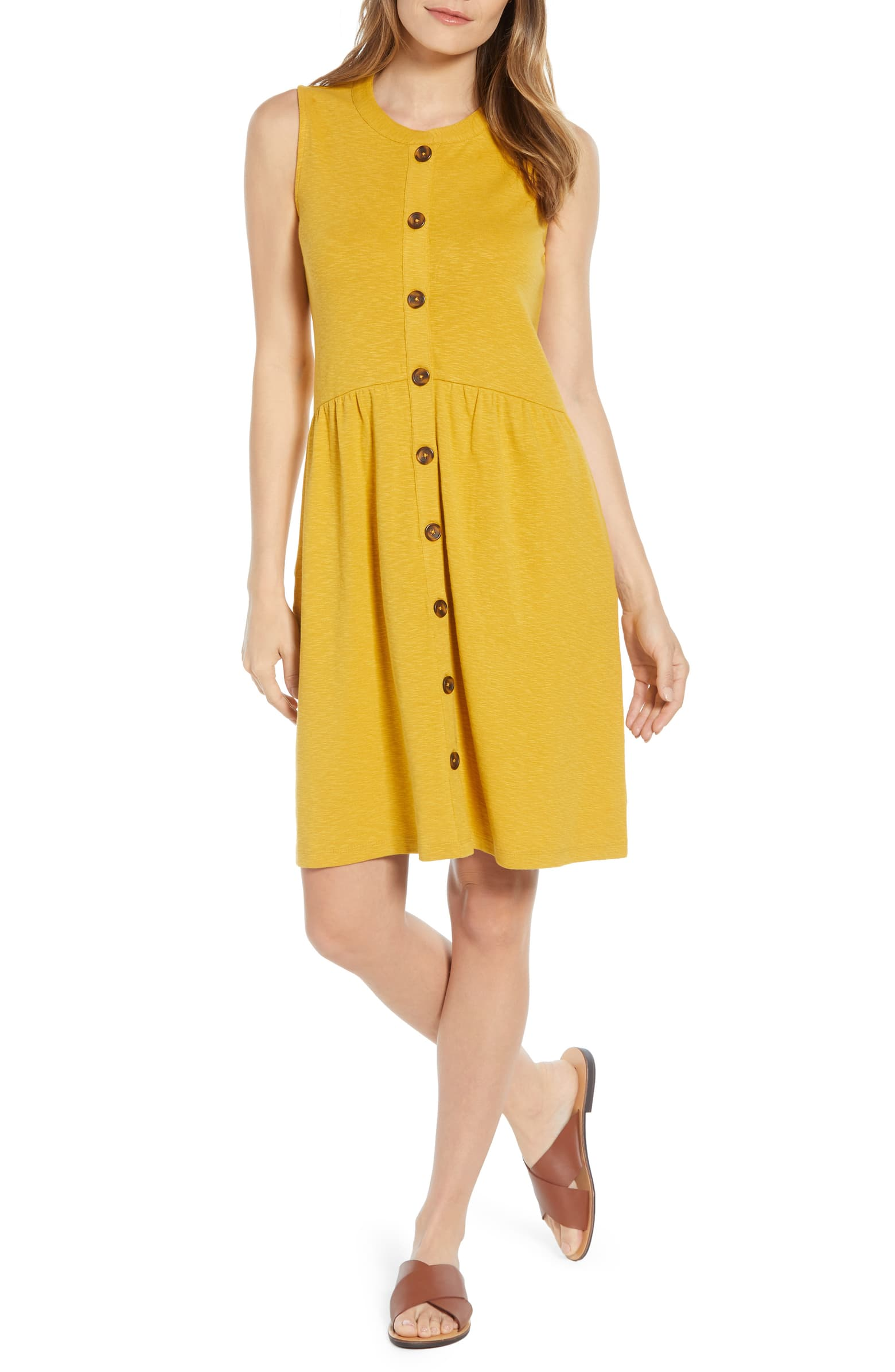 CASLON Button Drop-Waist Knit Dress