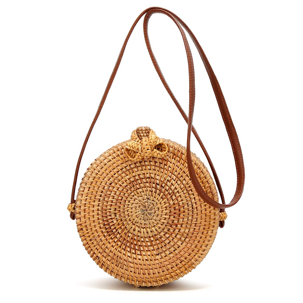 Amazon Rattan Bag - Caissip Handwoven Round Rattan Bags Weave Crossboby Straw Bag