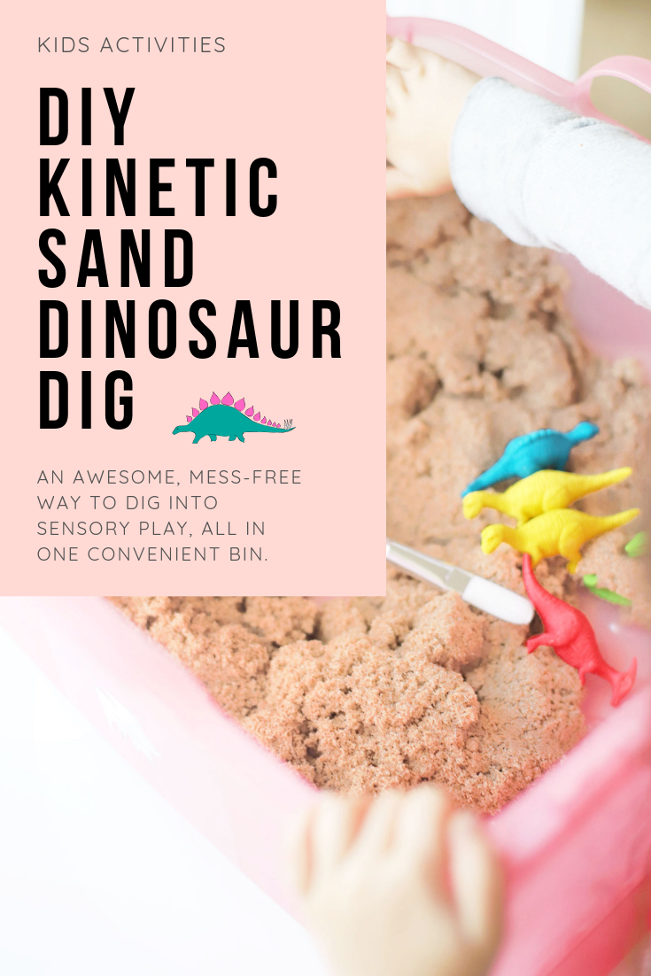 Create your own DIY kinetic sand dinosaur dig. This kids activity is an awesome, mostly mess-free way to dig into sensory play, all in one convenient bin. | Click through for the details. | glitterinc.com | @glitterinc