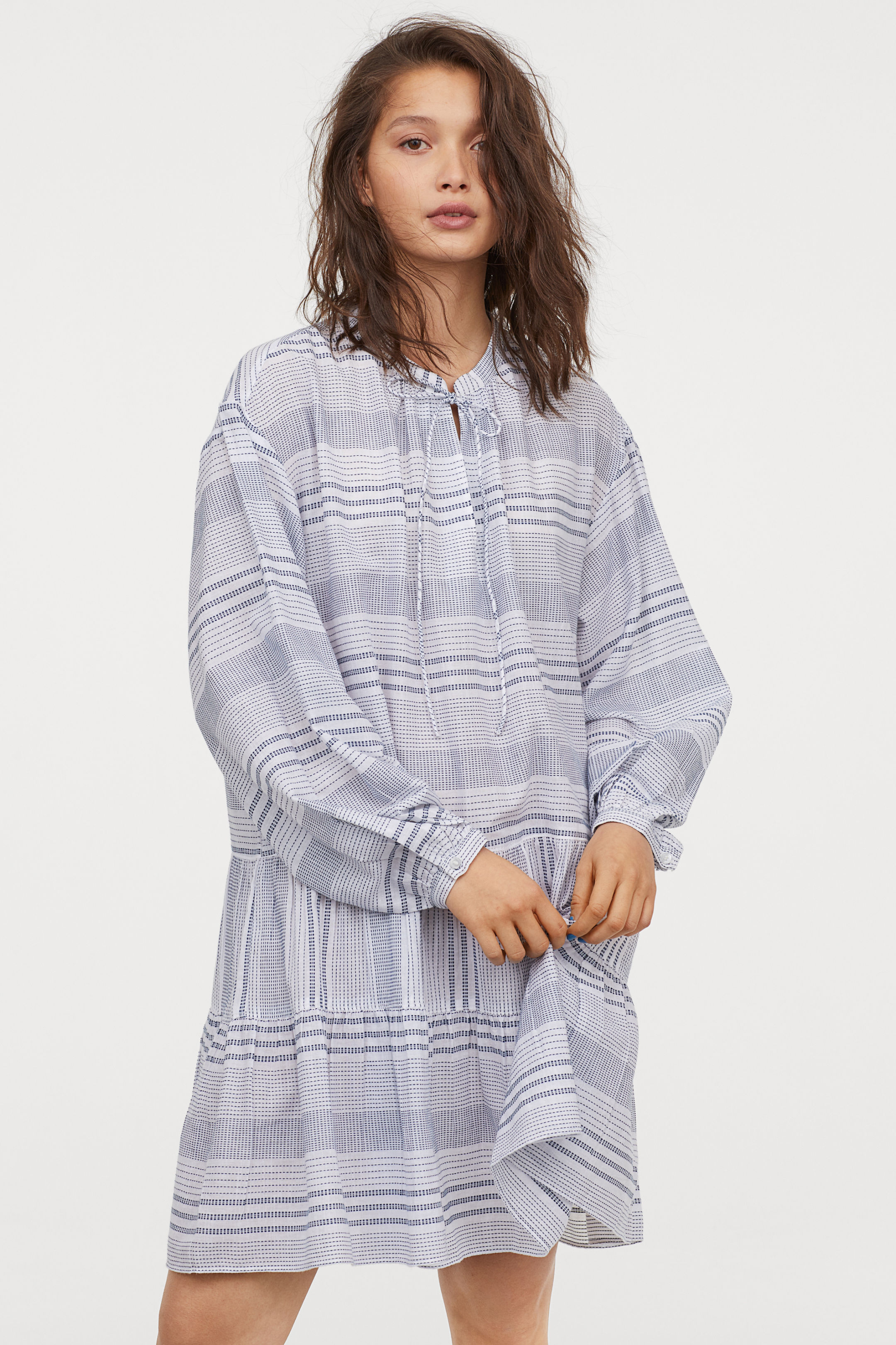 H&M Cotton Dress with Tiered Skirt